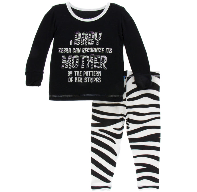 KicKee Pants Print Long Sleeve Pajama Set - Natural Zebra