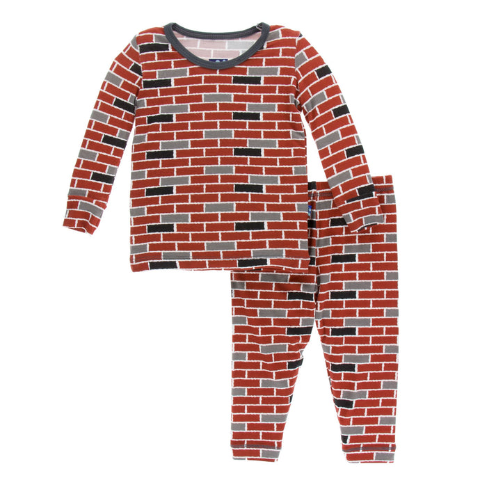KicKee Pants Print Long Sleeve Pajama Set - London Brick