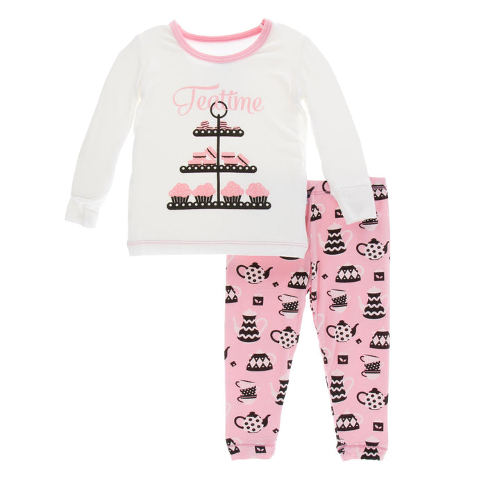KicKee Pants Print Long Sleeve Pajama Set - Teatime