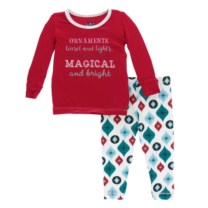 KicKee Pants Holiday Long Sleeve Pajama Set - Natural Vintage Ornaments