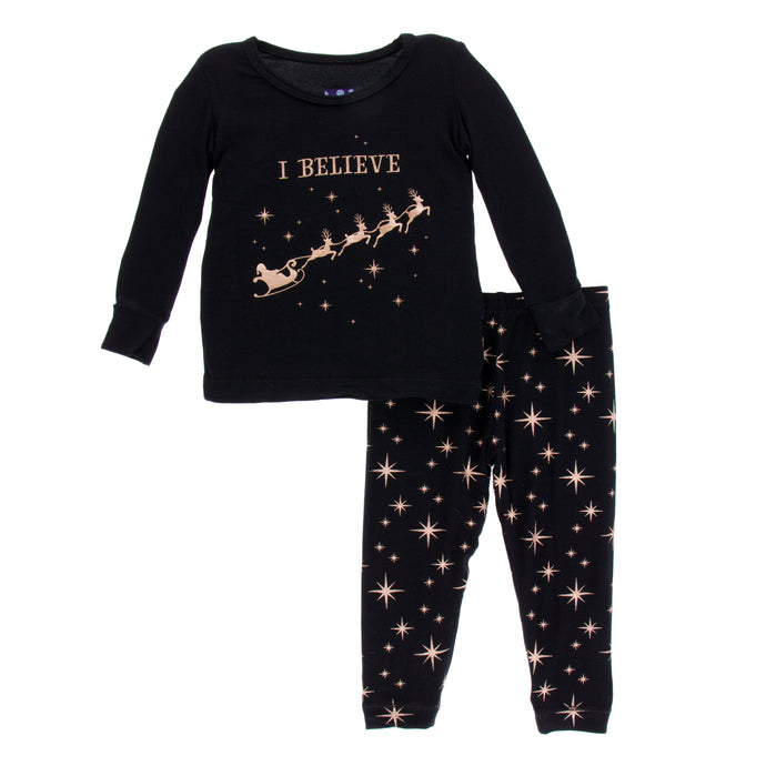 KicKee Pants Holiday Long Sleeve Pajama Set - Rose Gold Bright Stars