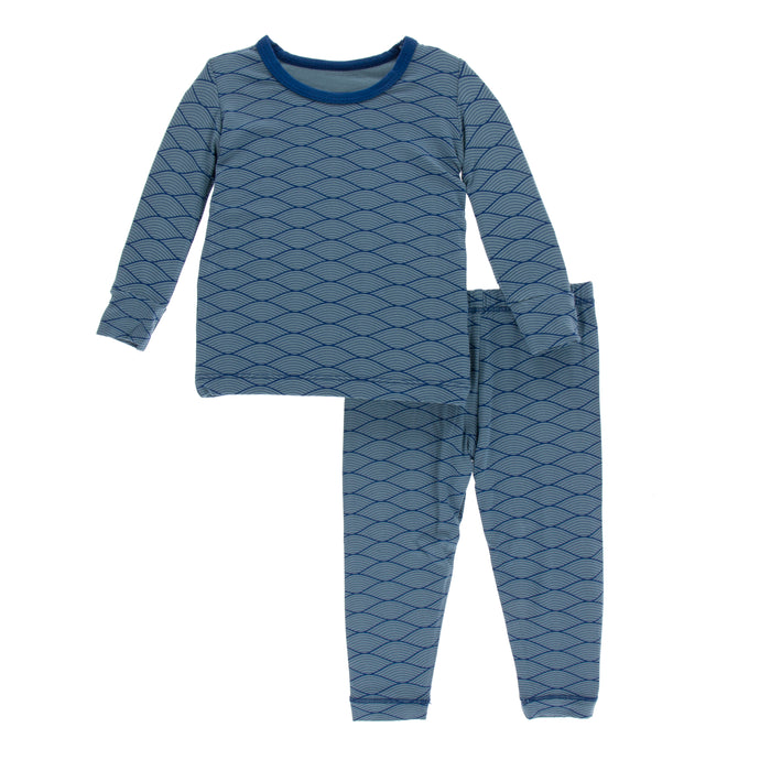 KicKee Pants Print Long Sleeve Pajama Set - Dusty Sky Tides