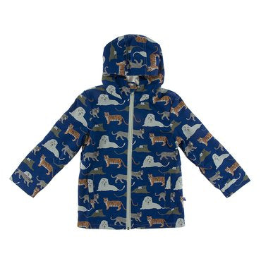 Print Terry-Lined Raincoat in Flag Blue Big Cats