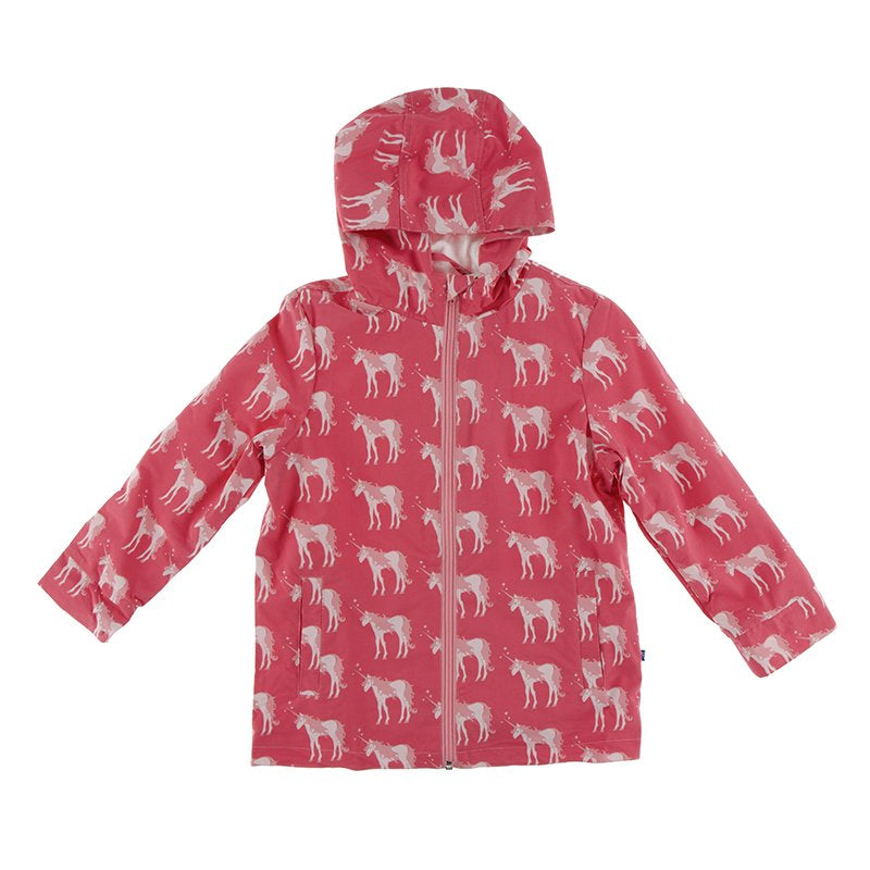 Kickee Pants Print Terry-Lined Raincoat in Red Ginger Unicorns