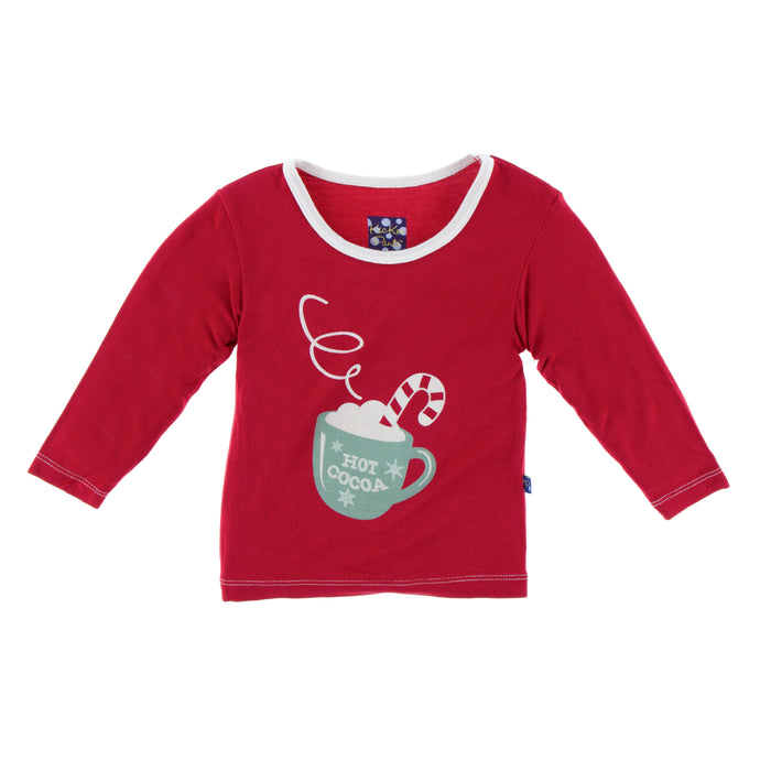 KicKee Pants Holiday Long Sleeve Piece Print Tee - Crimson Hot Cocoa