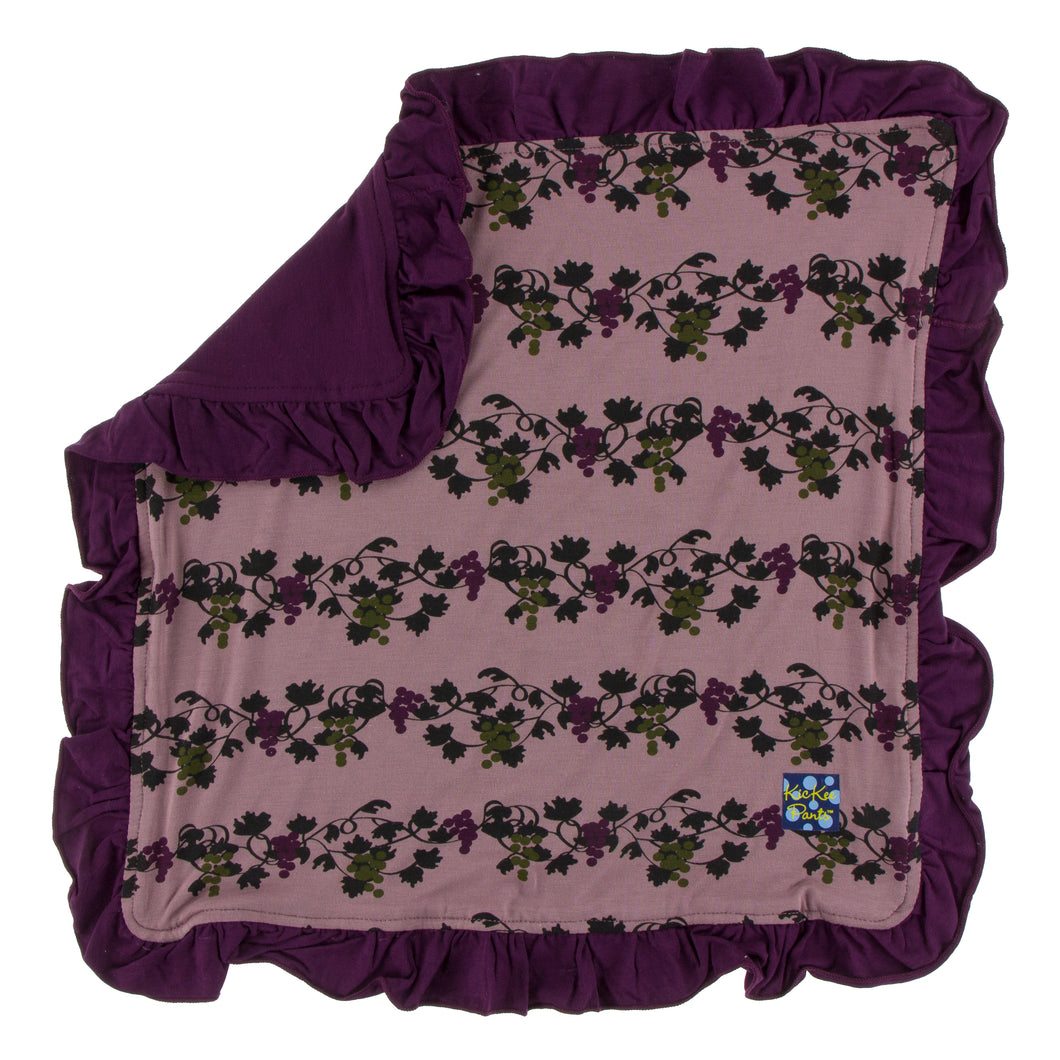 KicKee Pants Print Ruffle Bamboo Lovey - Raisin Grape Vines