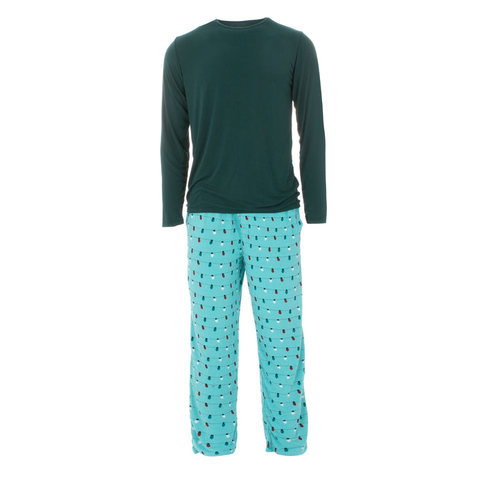 KicKee Pants Holiday Men's Long Sleeve Pajama Set - Glacier Holiday Lights
