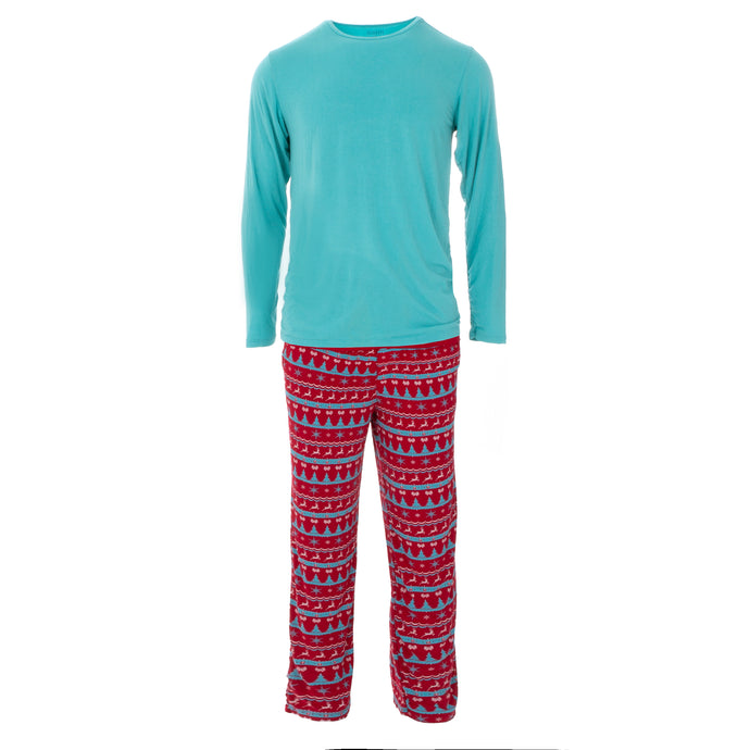 KicKee Pants Holiday Men's Long Sleeve Pajama Set - Nordic Print