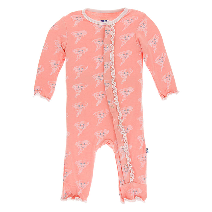 KicKee Pants Print Muffin Ruffle Coverall with Snaps - Blush Happy Tornado