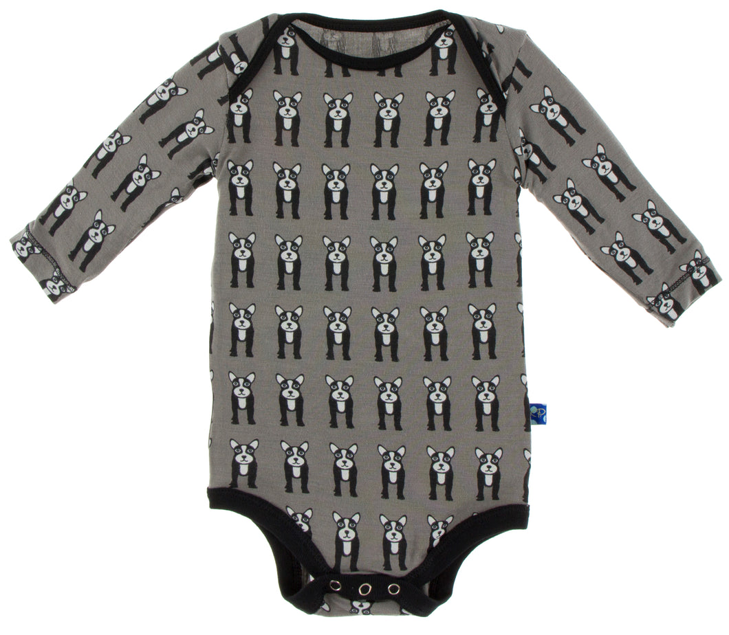 Kickee Pants Print Long Sleeve One Piece French Bulldog