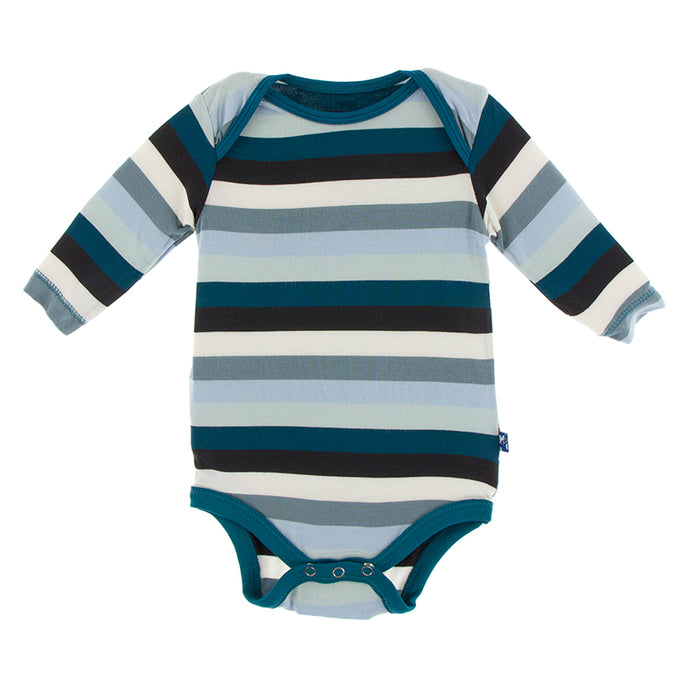 KicKee Pants Print Long Sleeve One Piece - Meteorology Stripe