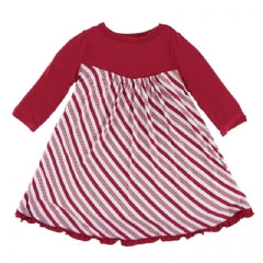KicKee Pants Classic Print Long Sleeve Swing Dress - Crimson Candy Cane Stripe