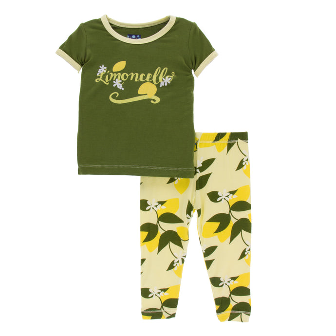 KicKee Pants Print Short Sleeve Pajama Set - Lime Blossom Lemon Tree