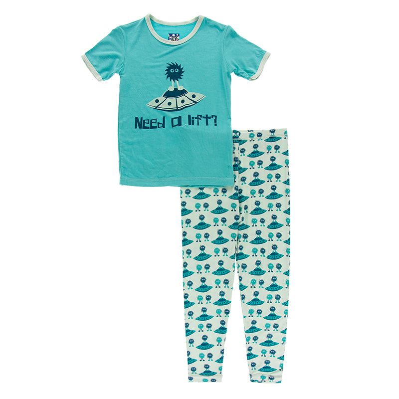 KicKee Pants Short Sleeve Piece Print Pajama Set - Aloe Aliens W/Flying Saucers
