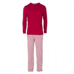 Kickee Pants Men's Long Sleeve Pajama Set in Crimson Candy Cane Stripe