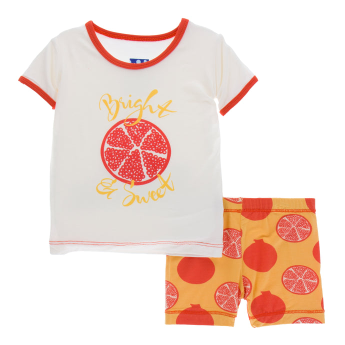 KicKee Pants Print Short Sleeve Pajama Set W Shorts - Marigold Pomegranate