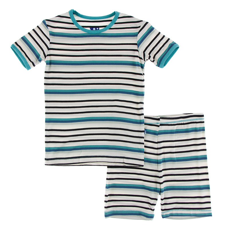 KicKee Pants Print Short Sleeve Pajama Set W/Shorts - Neptune Stripe