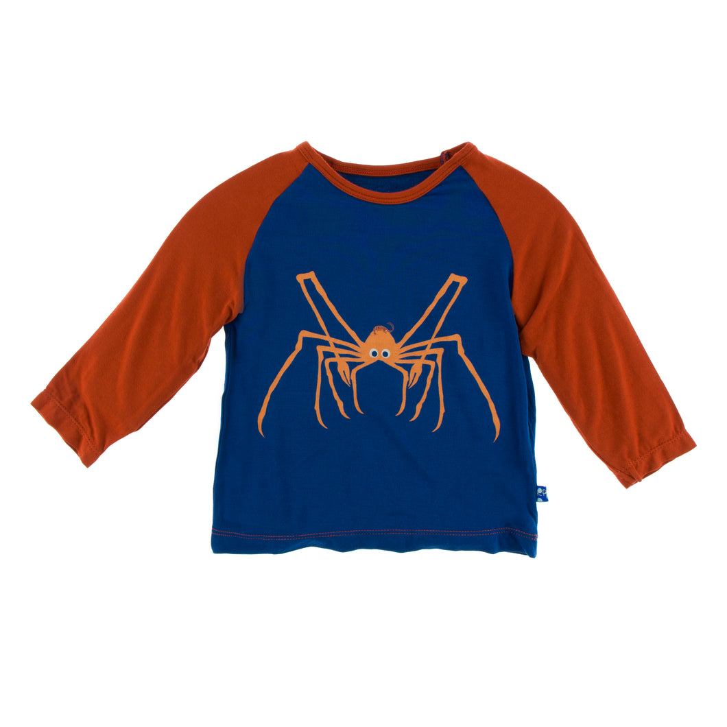 KicKee Pants Print Long Sleeve Non-fitted Raglan Tee - Navy Spider Crab