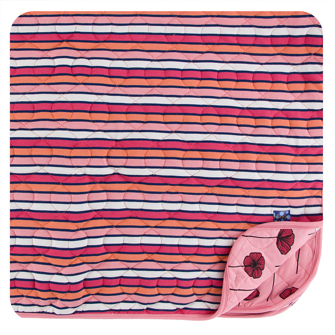 KicKee Pants Print Quilted Toddler Blanket - Botany Red Ginger Stripe/Strawberry Poppies