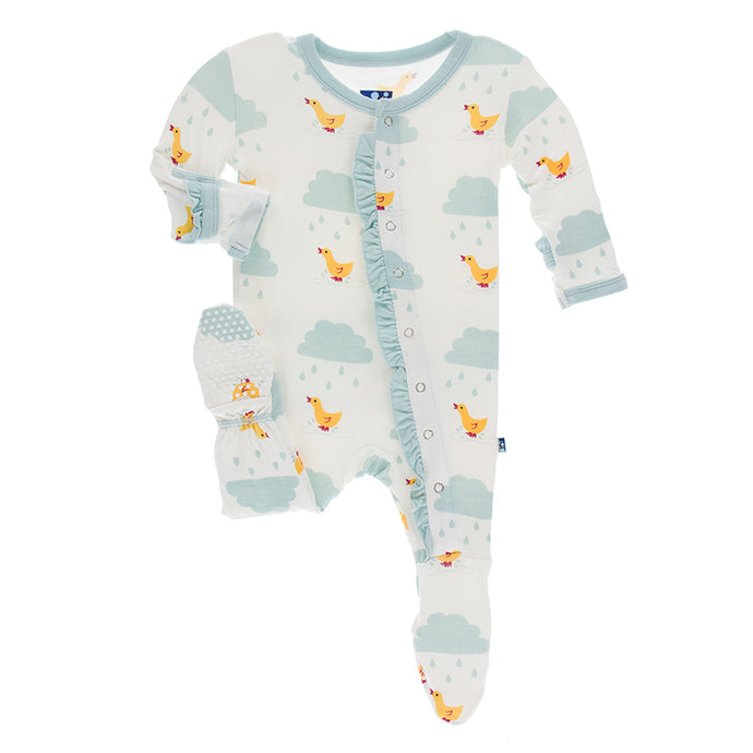 KicKee Pants Print Classic Ruffle Footie with Snaps - Natural Puddle Duck