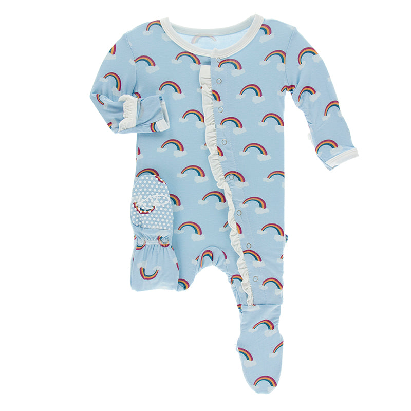 KicKee Pants Print Classic Ruffle Footie with Snaps - Pond Rainbow