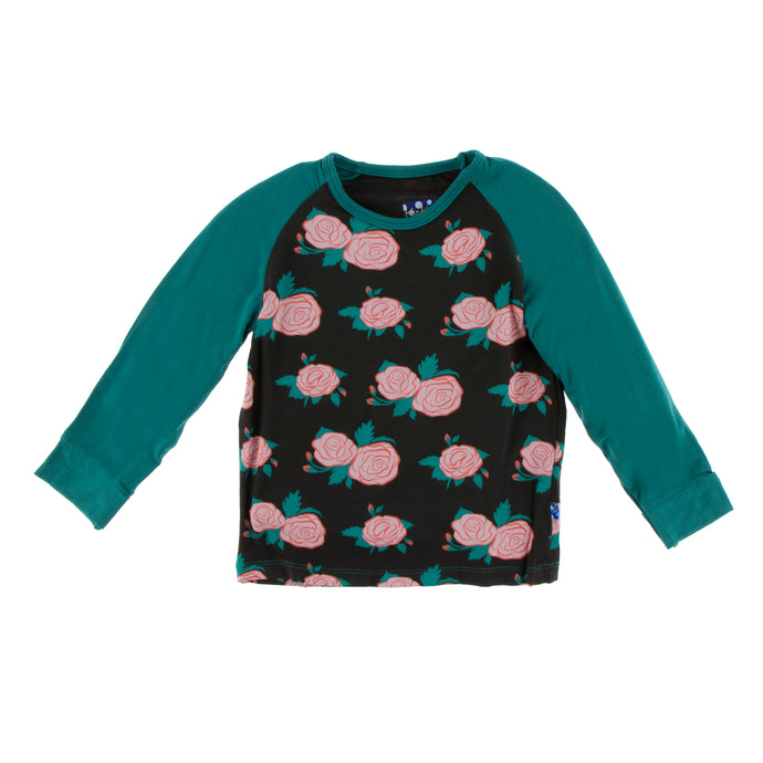 KicKee Pants Print Long Sleeve Fitted Raglan Tee - English Rose Garden