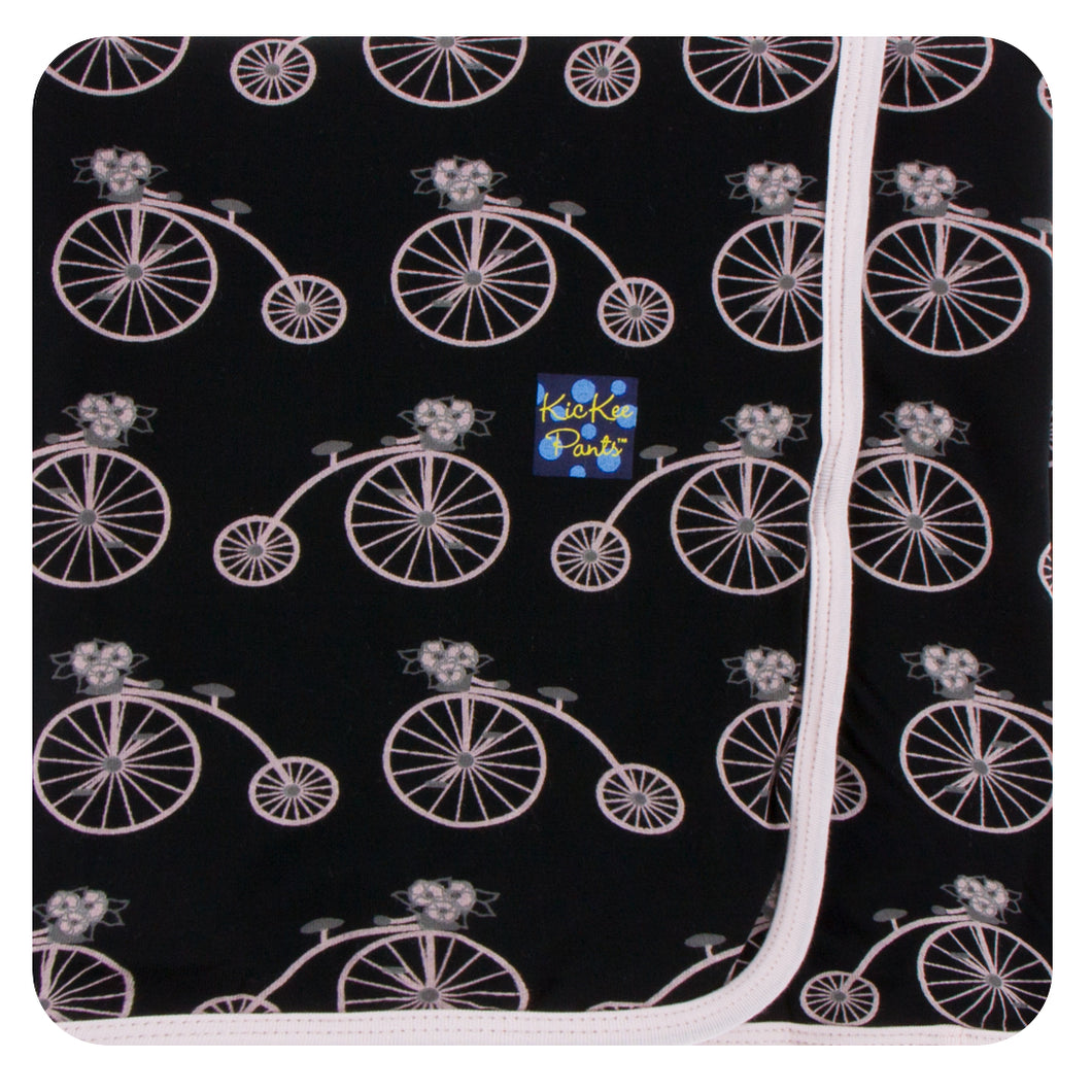 Kickee Pants Print Swaddling Blanket Girl Midnight Bikes
