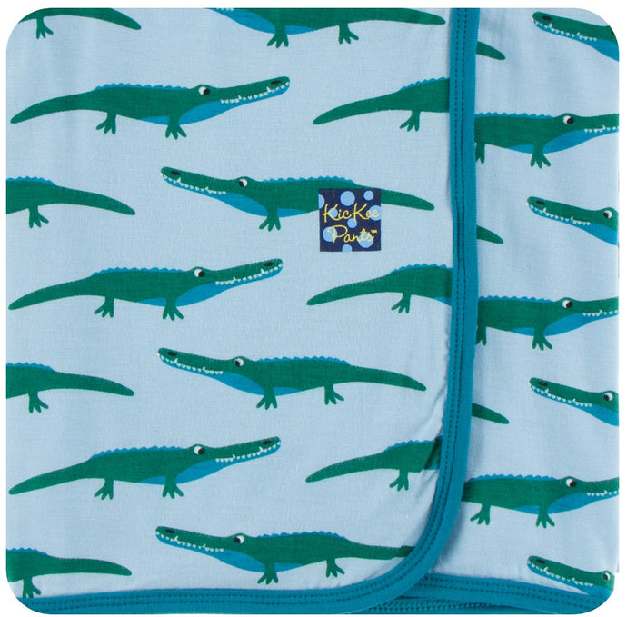 KicKee Pants Swaddling Blanket in Pond Crocodile