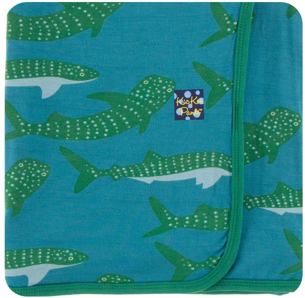 KicKee Pants Swaddling Blanket in Seagrass Whale Shark