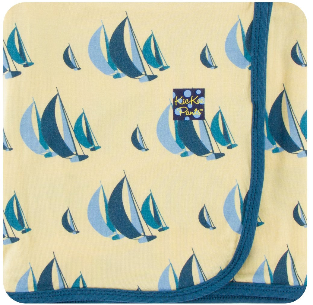 KicKee Pants Swaddling Blanket in Wallaby Sailing Race