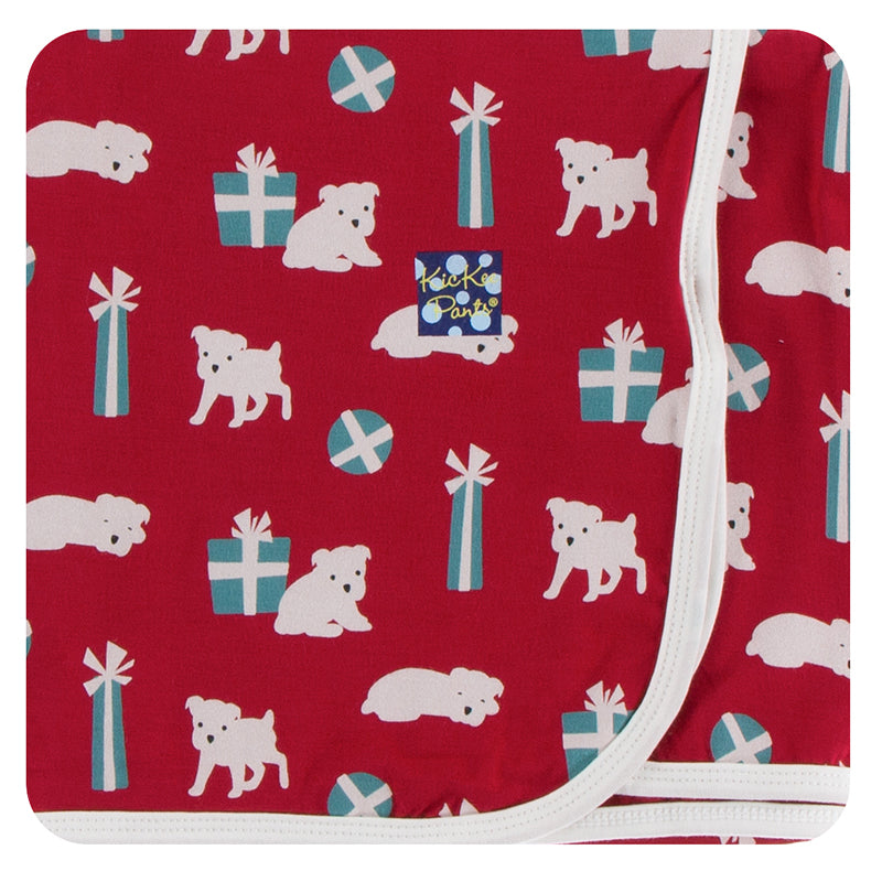 KicKee Pants Print Swaddling Blanket - Crimson Puppies and Presents
