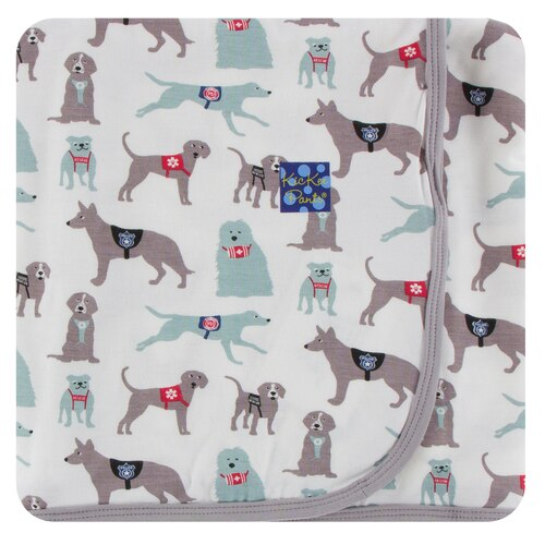 KICKEE PANTS PRINT SWADDLING BLANKET NATURAL CANINE FIRST RESPONDERS (ONE SIZE)