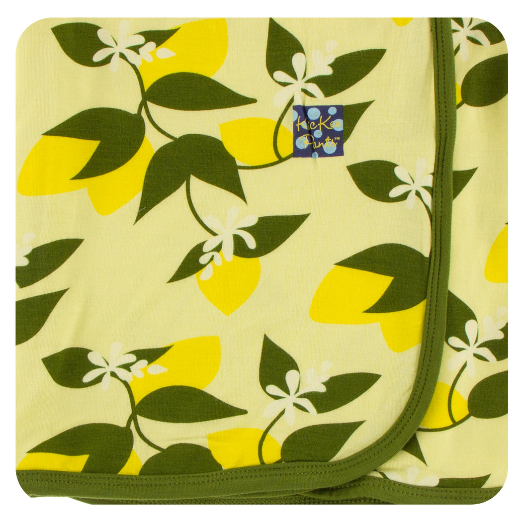 KicKee Pants Print Swaddling Blanket - Lime Blossom Lemon Tree