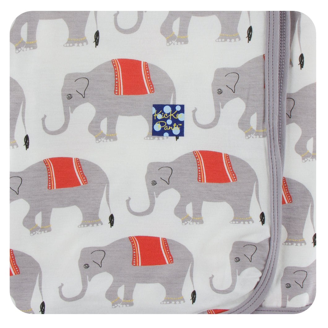 KicKee Pants Print Swaddling Blanket - Natural Indian Elephant