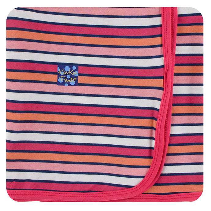KicKee Pants Print Swaddling Blanket - Botany Red Ginger Stripe (PRESALE)