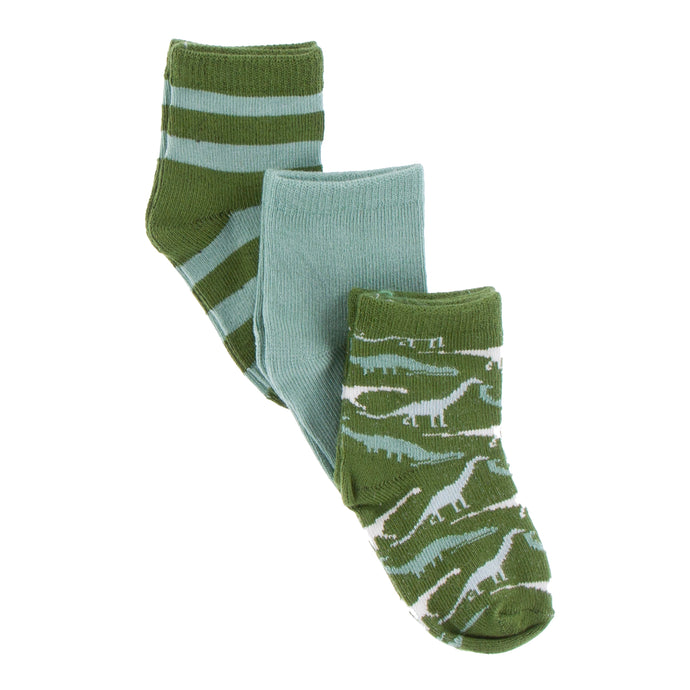 KicKee Pants Print Sock Set - Paleontology Fauna Stripe, Shore and Moss Sauropods