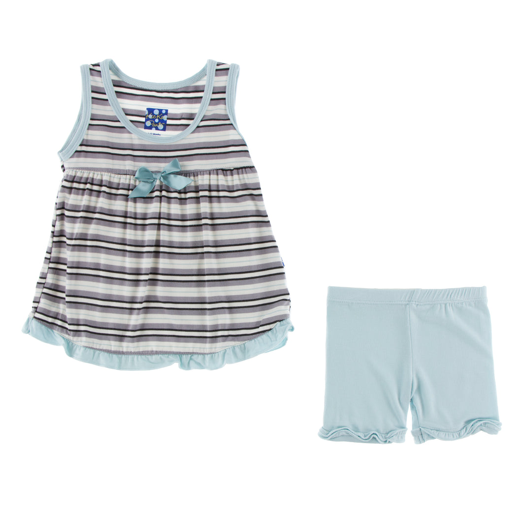 KicKee Pants Print Swing Tank W/Shorts Outfit Set - India Pure Stripe
