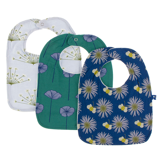 KicKee Pants Bib Set - Dew Dill, Ivy Poppies, and Navy Cornflower and Bee (PRESALE)