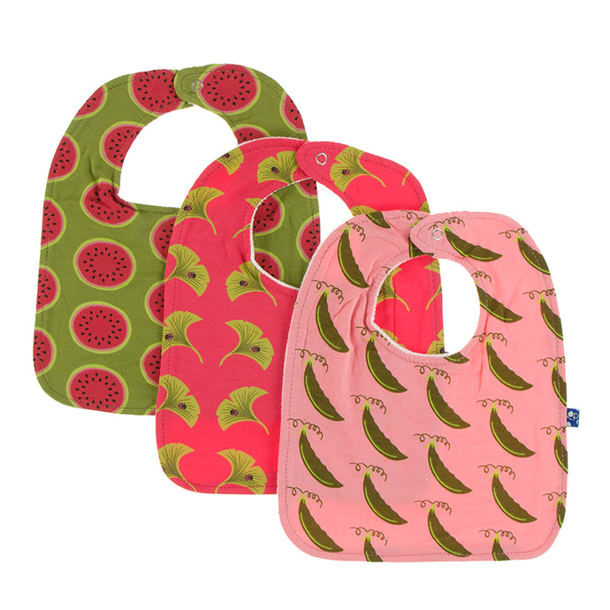 KicKee Pants Bib Set - Grasshopper Watermelon, Red Ginger Ginkgo and Strawberry Sweet Peas