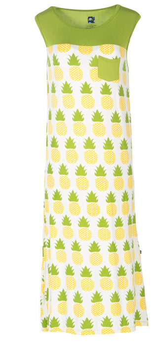 Kickee Pants Print Midi Tank Nightgown W/Pocket - Natural Pineapple