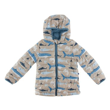 Print Puffer Jacket in Burlap Sharks with Blue Moon