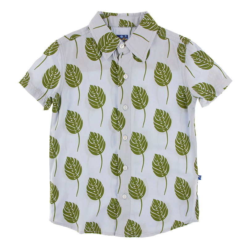 KicKee Pants Print Short Sleeve Woven Button Down Shirt - Dew Philodendron