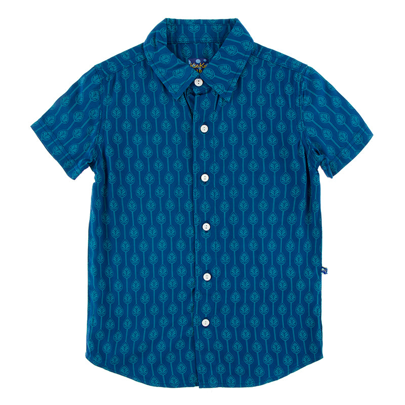 KicKee Pants Print Short Sleeve Woven Button Down Shirt - Navy Leaf Lattice