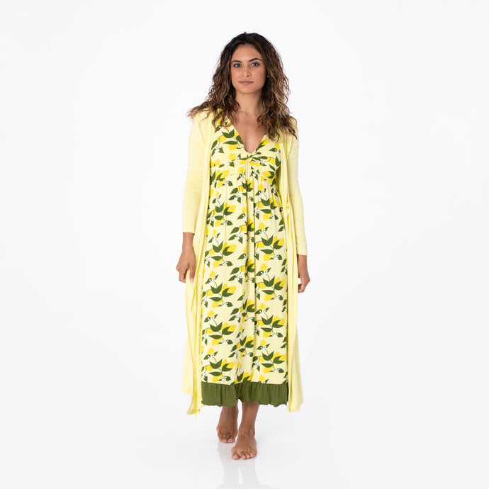 KicKee Pants Women's Print Twist Nightgown - Lime Blossom Lemon Tree