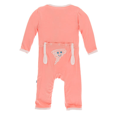 KicKee Pants Applique Coverall with Zipper - Blush Happy Tornado (PRESALE)