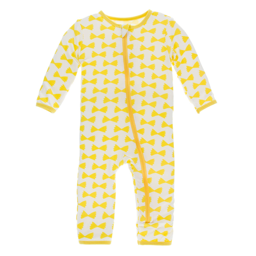 KicKee Pants Print Coverall W Zipper - Natural Farfalle (PRESALE)