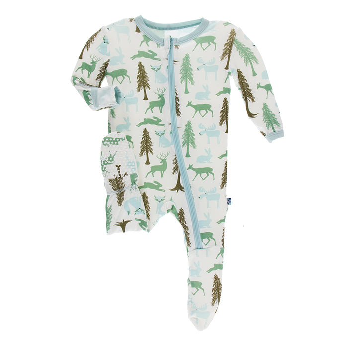 KicKee Pants Print Footie with Zipper - Natural Woodland Holiday