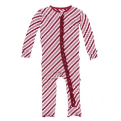 Kickee Pants Print Muffin Ruffle Coverall Candy Cane with Zipper