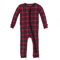 Kickee Pants Print Muffin Ruffle Coverall with Zipper in Plaid