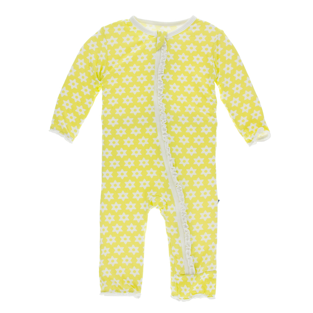 KicKee Pants Print Layette Classic Ruffle Coverall W Zipper - Lime Blossom Stellini